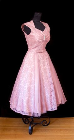 1950's Dress // Full Skirt Pink Lace and Tulle by GarbOhVintage