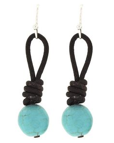Turquoise Dangle Earrings with Dark Brown Cord