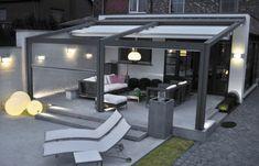pergola metall terrassenüberdachung sichtschutz