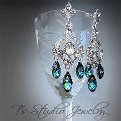 JASMINE Peacock Blue Bridal Chandelier Earrings by T's Studio Jewelry