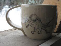 Octopus mug by PirateRosePottery on Etsy, $30.00