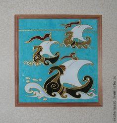 Картина - роспись по стеклу - панно,декоративное панно,Витражная роспись