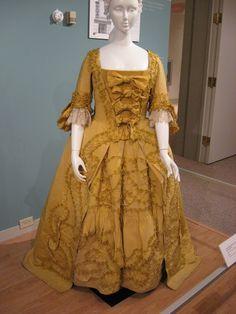 2012-08-25 KSMF -  Yellow silk faille robe a la francaise and matching petticoat (stomacher installation), circa 1760.