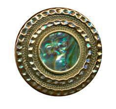 Button ~ Shimmery Bright Brass & Abalone Pearl Victorian Jewel by rclarner on Etsy https://www.etsy.com/listing/170633674/button-shimmery-bright-brass-abalone