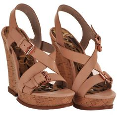 Sam Edelman Josie au natural wedge (£42) ❤ liked on Polyvore featuring shoes, sandals, wedges, heels, heeled sandals, strappy heel sandals, strap heel sandals, leather shoes y cork wedge shoes