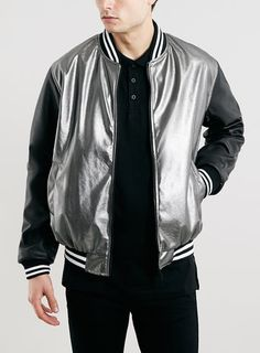 JADED SILVER FAUX LEATHER BOMBER JACKET*