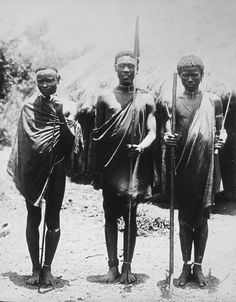 Africa | Three Kikuyu men.  British East Africa.  ca. 1900 - 1934 | Attributed to photographer Constant Tastevin (1880 - 1962)