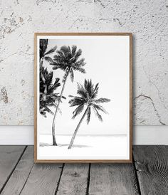Beach Palm Trees Posters Black And White Graphic Art Prints Plage Art Mural, Art Plage, Black And White Living Room, Black And White Beach, Black And White Artwork, Black Art, Tree Wall Decor, Tree Wall Art, Palm Beach