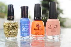 Milani GOLD, Sally Hansen Pacific Blue, Salon Perfect Traffic Cone, SATION