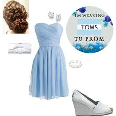 Light Blue Silk Chiffon Dress with TOMS Ivory Glitter Women's Wedges #TOMSforProm
