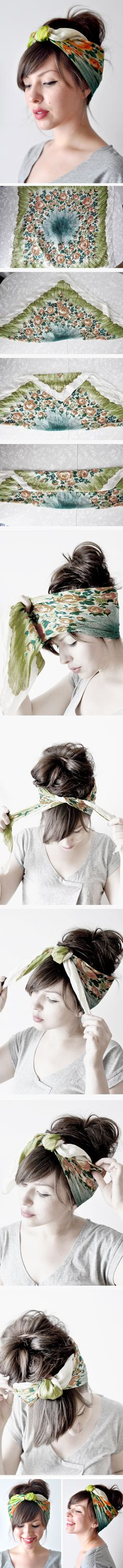 Head scarf... I think that this would work with any length hair. Gonna try it and mine is short. Poof or a spike and instant cute!  ******RYE IM PINNING THIS FOR YOU**** mostly ;-)