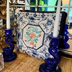 Vintage• Home •Antiques •Decor (@lilliangreysvintagehome) • Instagram photos and videos Staffordshire Dog, Antique Decor, White Porcelain, Needlepoint, Table Settings, Blue And White, Display, Traditional, Photo And Video