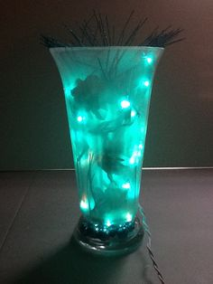 White Frosted Vase w/ Teal christmas Lights Center by MarkiLane, $30.00
