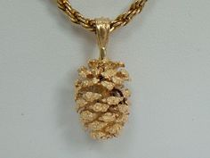 Christmas Pinecone 14k Gold Necklace or Charm by My3LadiesJewelry, $189.99