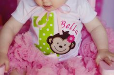 Mod Monkey Girls First Birthday Shirt by AllRibbonedOut on Etsy, $20.00