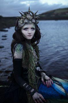 Katelizabeth Photography Page - Meet a Mermaid UK - mua and stylist is photog - headpiece Hysteria Machine - arms Lovechild Boudoir Gothic Burlesque Steampunk Fashion - scarf MetamorphDK - tail MerBellaStudios