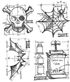 Stampers Anonymous - Tim Holtz - Cling Mounted Rubber Stamp Set - Halloween Blueprint at Scrapbook.com $18.66