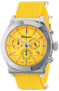 Salvatore Ferragamo Men's FF3030013 1898 Interchangeable Yellow Sky Blue Canvas Strap Chronograph Date Watch
