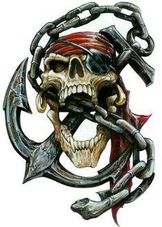 Aufkleber Set Pirat Totenkopf Anker Kette Airbrush Decal Pirate Skull Anchor Top in Auto & Motorrad Teile, Motorrad- & Kraftradteile, Accessoires & Literatur Skull Tattoo Design, Skull Design, Tattoo Designs, Pirate Art, Pirate Life, Gott Tattoos, Pirate Skull Tattoos, Pirate Girl Tattoos, Indian Skull Tattoos