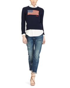 Polo Ralph Lauren - Pull drapeau à col rond en coton