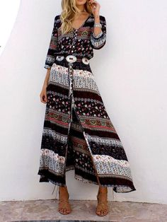 4a7084c4674 Ankle-Length Print Long Sleeve Expansion Fall Dress. Floral Maxi DressMaxi  Shirt ...