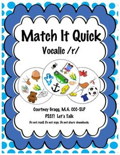 Vocalic R Game for Speech Therapy - Match It Quick.  Great articulation game that speech therapy students will love!  #slpeeps #slps #ashaiger Pinned by: http://www.pinterest.com/eislaufen87/