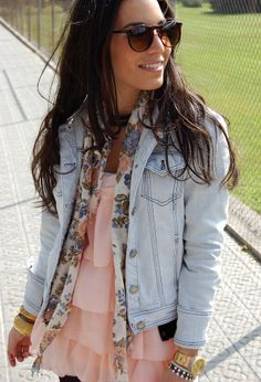 Love the colors in this outfit! They are perfect for spring! Jean jackets are super cute and are perfect for chillier days.