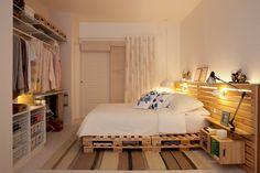 Cama de Pallet com Cabeceira de Deck ou Pallet