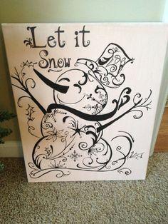 beautiful 'let it snow' snowflake swirly snowman christmas canvas art. Christmas Drawing, Christmas Paintings, Christmas Canvas, Christmas Art, Winter Christmas, Zen Doodle, Doodle Art, Diy Canvas, Canvas Art