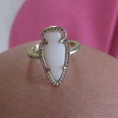 Kendra Scott Skylen Ring (White) White arrow head ring! A bit tarnished on the bottom (as pictured) but you can not tell while wearing  Kendra Scott Jewelry Rings