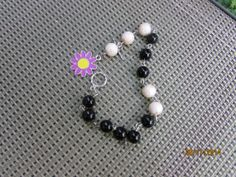 Pink Black Beaded Bracelet by BeaderBubbe on Etsy, $8.00