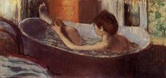 Woman in a Bath Sponging Her Leg, 1884 by Edgar Degas. Impressionism. nude painting (nu). Musée d'Orsay, Paris, France