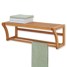 Buy Neu Home Lohas Bamboo Wall Mounted Shelf with Towel Bar from Bed Bath & Beyond Bathroom Wood Shelves, Shower Shelves, Bathroom Furniture, Bathroom Storage, Home Furniture, Towel Storage, Towel Shelf, Storage Rack, Bamboo Shelf