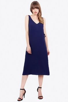 Tied Down Dress Tied Down Dress navy shift dress with lace up detail on both sides – Side slits – Mid length – Partially lined