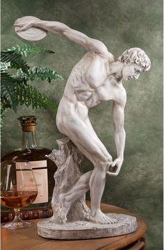 "XoticBrands 19"" Classic Nude Male Greek Discobolos Sport Sculpture Statue Figurine c. 450... : Statue Collection"