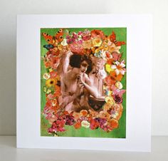 Romantic card with 1920s topless woman anniversary by ThisRosyLife