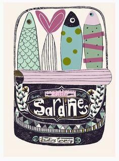 illustration by Paper & Cloth Design Art And Illustration, Food Illustrations, Art Et Design, Guache, Fish Art, Artsy, Art Prints, Drawings, Artwork