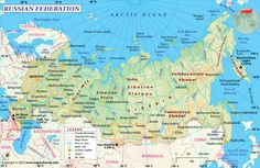 Find the updated Russia map, a country situated in northern Eurasia. The map of Russia shows that it has the largest land mass in the world. Largest Countries, Countries Of The World, Russia Day, Asia Map, Russia Ukraine, Country Maps, Russian Federation, Peta, Arctic