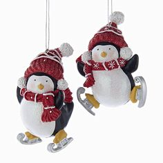 """3.25""""FROSTED SNOW PENGUIN ORNAMENTS  C6700"""