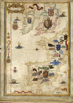This map is a part of an atlas known as the Queen Mary Atlas. Queen Mary commissioned the atlas in 1558 from the Portuguese mapmaker Diego Homen. Mary died before the atlas was finished, and after her death, the atlas was presented to Queen Elizabeth I. Tudor History, British History, History Medieval, Vintage Maps, Antique Maps, Elisabeth I, Map Globe, Fantasy Map, Old Maps