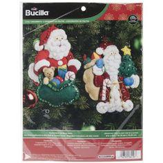 "Bucilla Traditional & Old World Santa Ornaments Felt Applique Kit-4""X6"" Set Of 2"