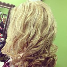 Light blonde hair with a few lowlights through it