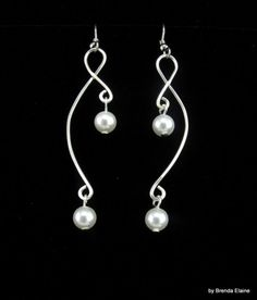 Earrings with Pearls and Gracefully Sculpted Wire | byBrendaElaine - Jewelry on ArtFire