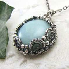 Light Blue Amazonite Handmade Sterling Silver Wire Wrapped Pendant