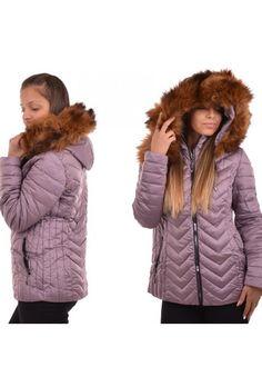 Geci de dama de iarna ieftine: Geaca mov cu gluga pufoasa maro Dana Winter Jackets, Fashion, Winter Coats, Moda, Winter Vest Outfits, Fasion