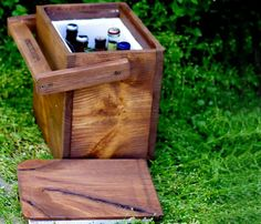Igloo - Picnic Cooler - Insulated Carton - Wooden Cooler - Beer Cooler - Rustic Wood Igloo from coldcreekbrewing on Etsy. Saved to Epic Wishlist. Picnic Cooler, Beer Cooler, Outdoor Cooler, Cooler Box, Wood Projects, Woodworking Projects, Wood Cooler, Cold Creek, Beer Caddy