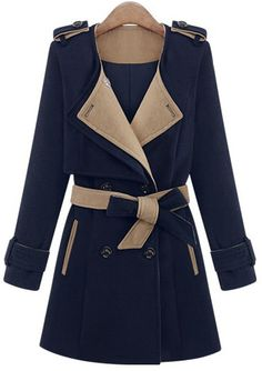 Blue Long Sleeve Epaulet Belt Trench Coat US$43.61