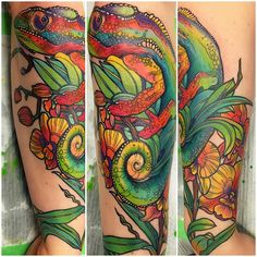 colourful little guy I got to finish the other day, thank you Claire! #chameleon #chameleontattoo #rct #raincitytattoo