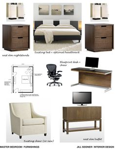 Concept board for a bedroom/office work space.