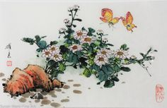 Original Watercolor on Chinese Paper by Yaodong Hu, Butterflies, Unmatted but Laminated 13 X 9